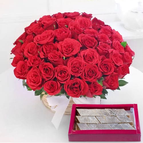 Kaju Barfi N Red Roses Basket Arrangement