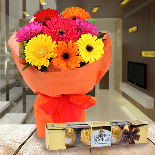Enticing Gerbera Bouquet with Ferrero Rocher Chocolate
