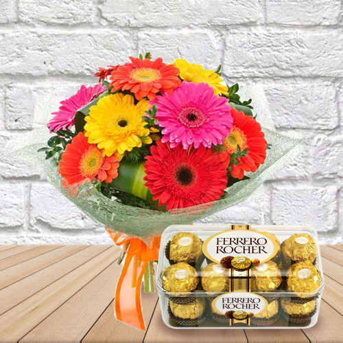 Delicate Mixed Gerberas Bouquet with Ferrero Rocher Chocolates