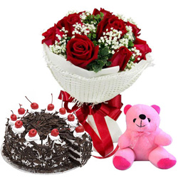 Charming Red Rose Bouquet, Black Forest Cake and Teddy