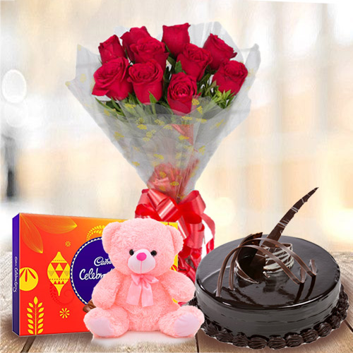 Enticing Chocolate Cake with Red Rose Bouquet, Teddy and Cadbury Celebratios