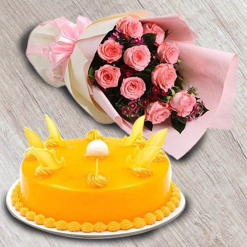 Pink Rose Bouquet with Mango Cake