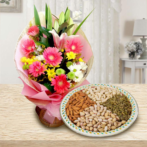 Colorful Flowers with Mixed Dry Fruits