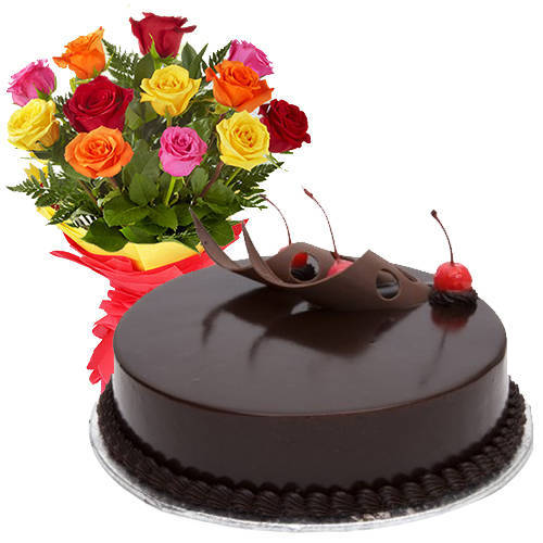 Stunning 12 Mixed Roses with 1/2 Kg Chocolate Cake