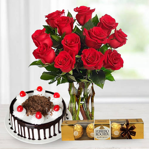 Stunning Bouquet of Red Roses with Ferrero Rocher and Black Forest Cake