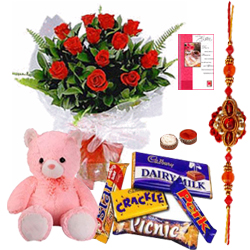 Stylish Compilation of Sweet Teddy, Assorted Cadbury Chocolates N Red Rose Bunch with Free Rakhi, Roli Tilak and Chawal for your Caring Brother
