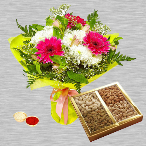 Mixed Flower Bouquet with Dry Fruits