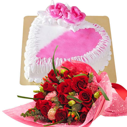 Gift of Dutch Roses N Heart Shaped Cake
