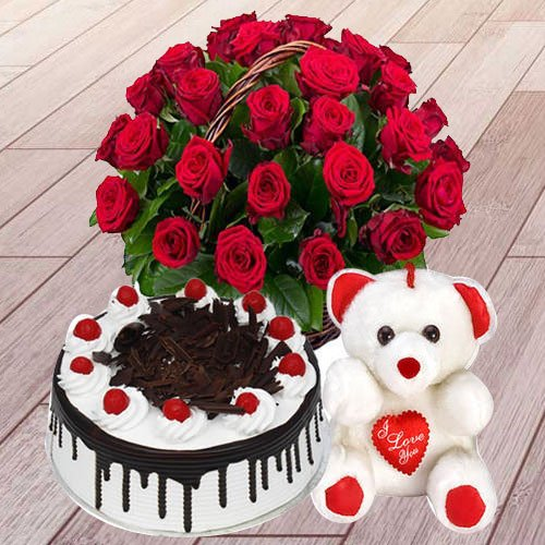 Sweet Red Roses with Black Forest Cake and a Teddy Bear<br><br>