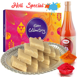 Kaju Katli with Thandai and Cadburys Celebration