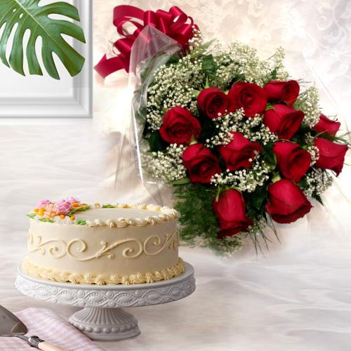 Energetic Dutch Red Roses with Eggless Cake<br><br>