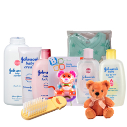 Marvelous Johnson Baby Care Gift Combo with Teddy