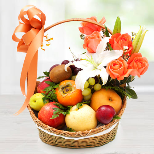 Carefully-Selected Imported Fruits Basket with Orange Roses n White Lily