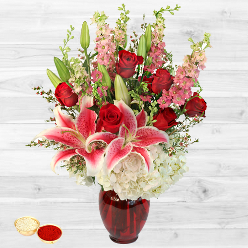 Magnificient bouquet of fresh Lilies with free Roli Tilak and Chawal
