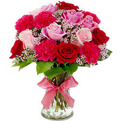 Delightful Assorted Flowers in a Glass Vase