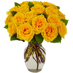 Magnificent Bouquet of Yellow Roses in a Glass Vase