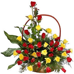 Treasured Togetherness Basket of Yellow N Red Roses