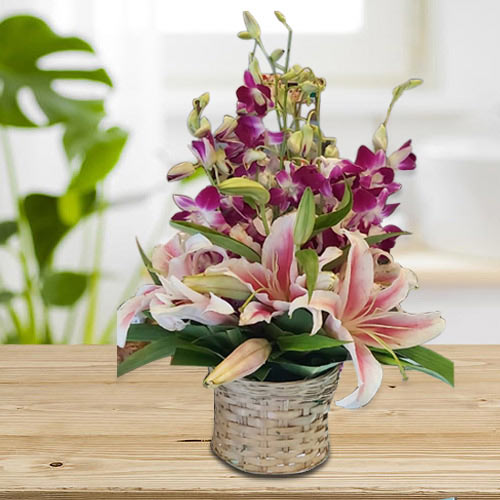 Lovely Pink Oriental Lilies n Purple Orchids Arrangement