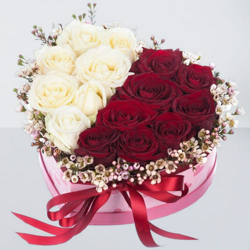 Attractive Red n White Roses in Heart Shape Box