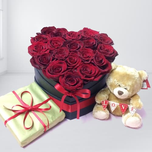 Wonderful Red Roses Heart Shaped Box with Cute Teddy