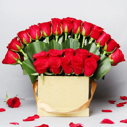 Premium Box Arrangement of Red Roses with Teddy n Chocolate