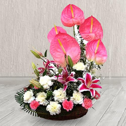Pristine Pink N White Flowers Arrangement