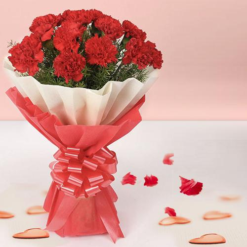 Stunning Red Carnations Bouquet