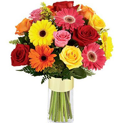 Colorful Flowers in Glass Vase