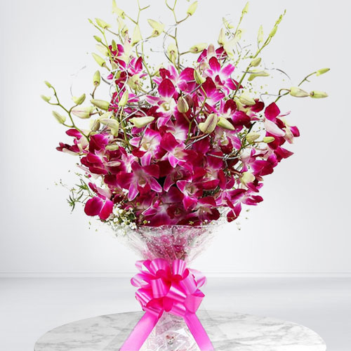 Blushing Bouquet of Purple Orchids