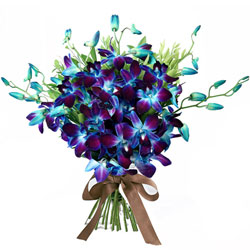 Awesome Bouquet of Blue Orchids