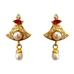 Bell Shaped Pink Stone and AD Studded Fresh Water Pearl Earring Set