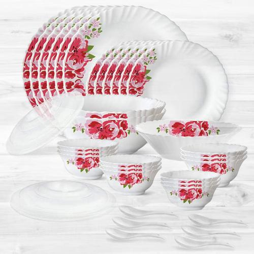 Remarkable Larah by Borosil Rose Red Silk Series Dinner Set