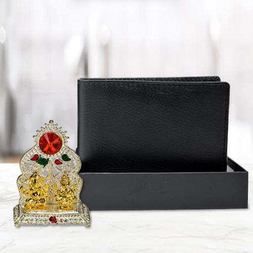 Antique Ganesh Laxmi Mandap with a Black Wallet for Gents