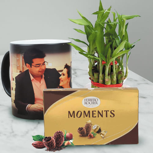 Exclusive Personalized Photo Magic Mug with Ferrero Rocher N Bamboo Plant