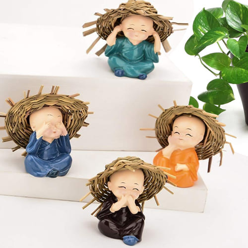 Attractive Set of 4 Baby Hat Monk Buddha Polyresin Idol