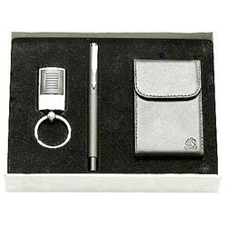 Graceful gift hamper with Steel finish Key Ring, Pen and a  Visiting Card Holder