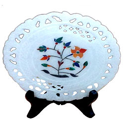 Beautifully carved marbel designer plates with stand to gift your loved ones