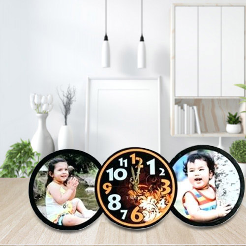 Lovely Personalized Table Clock with Twin Photo