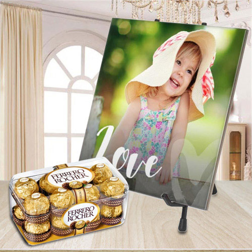 Stylish Personalized Photo Tile with Ferrero Rocher Chocolate