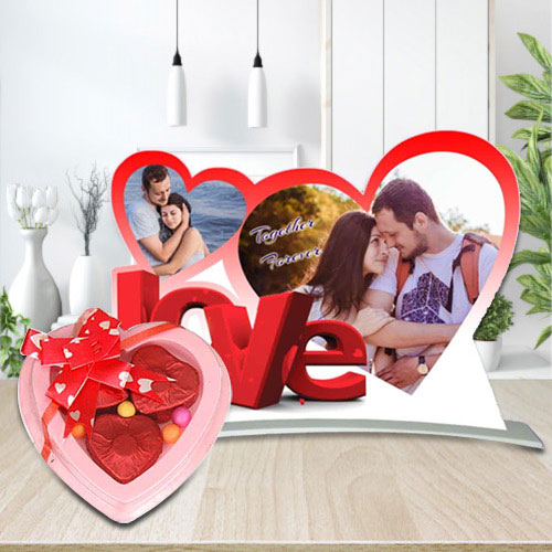 Beautiful Heart Shaped Photo Frame with Homemade Chocolates