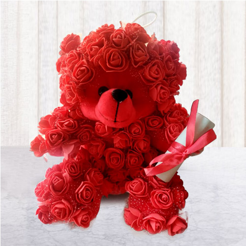 Wonderful Rose Teddy with Personalized Message