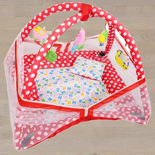 Attractive Kick and Play Gym with Mosquito Net N Bedding Set