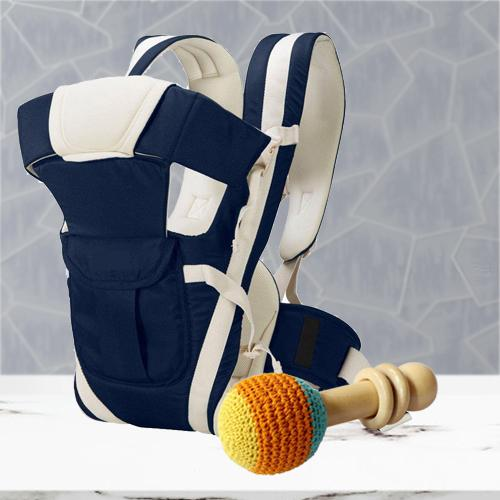 Exclusive Wooden Rattle Toy with Baby Carrier Cum Kangaroo Bag