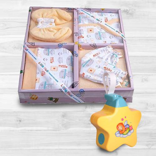 Remarkable Baby Sleep Projector Toy with 6 pcs Clothing Gift Set<br><br>