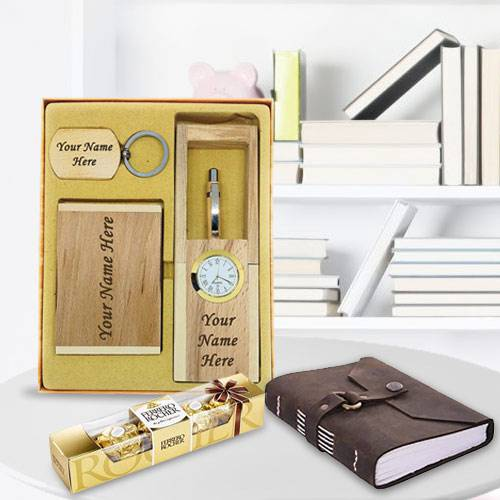 Wonderful Personalized Wooden Office Stationery Set