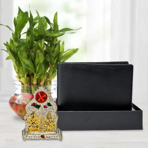 Classic Good Luck Bamboo Plant with a Gents Leather Wallet n Laxmi Ganesh Mandap