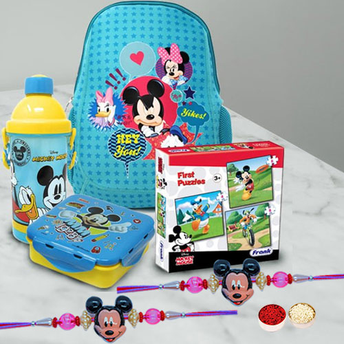Trendy Mickey Rakhi with Kids Special Mickey Mouse Hamper