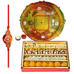 Smashing Present of Assorted Sweets from Haldiram and Rakhi Thali along with Free Rakhi, Roli Tilak and Chawal for your Brother