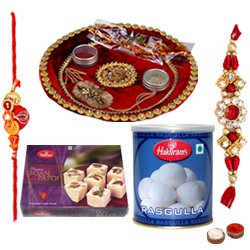 Exciting Gift Set of Rakhi Thali, Soan Papdi and Rasgulla from Haldirams with free Rakhi, Roli Tilak and Chawal for your Loved Ones on Raksha Bandhan