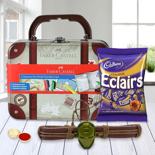 Rakhi n Chocolate with 33 pcs Faber Castell World Traveller Case of Stationery